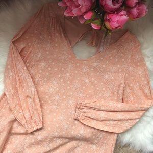 NWT Sadie & Sage peach floral swing peasant dress